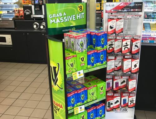 POS stand display for V Energy Drinks – Woolworths