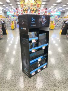Pre Packed Cardboard Product Display Stands Custom designed cardboard display shipper for JB Hi Fi for consumer electronics products from Logitech in Australia created by Genesis Retail Displays pop manufactuer in Australia