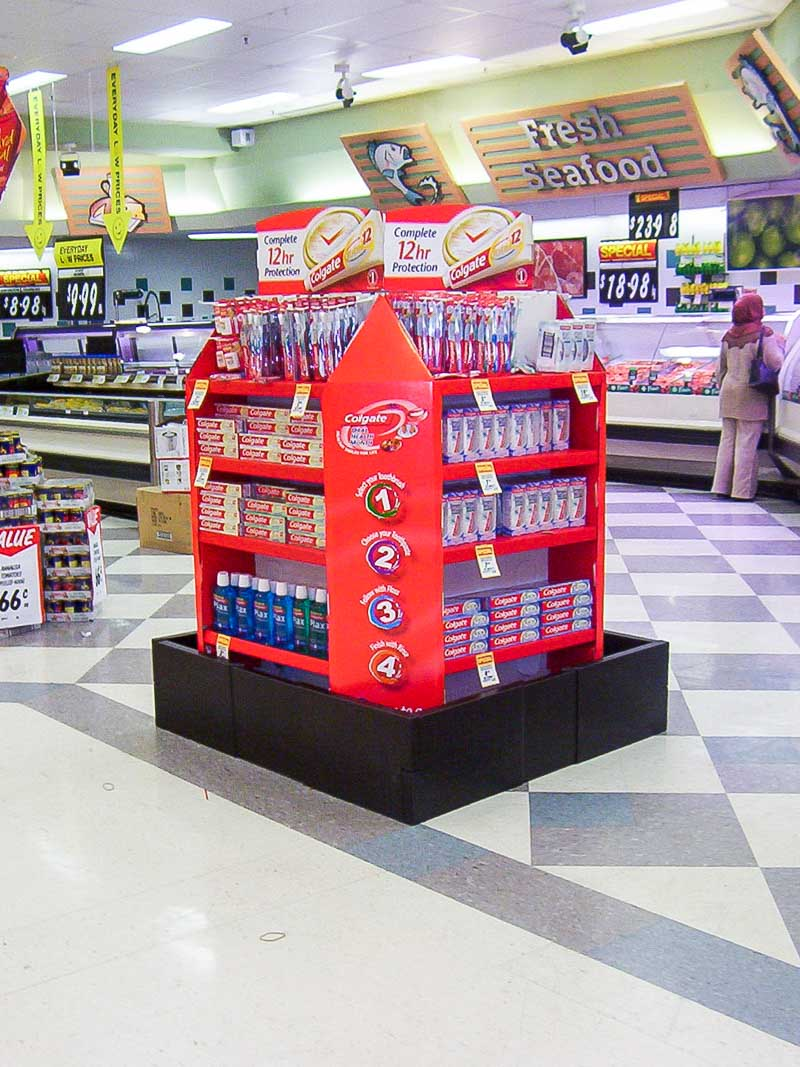 Genesis Retail Displays custom design cardboard pallet display for products from Colgate Toothpaste in Coles and Woolworths Supermarkets 1