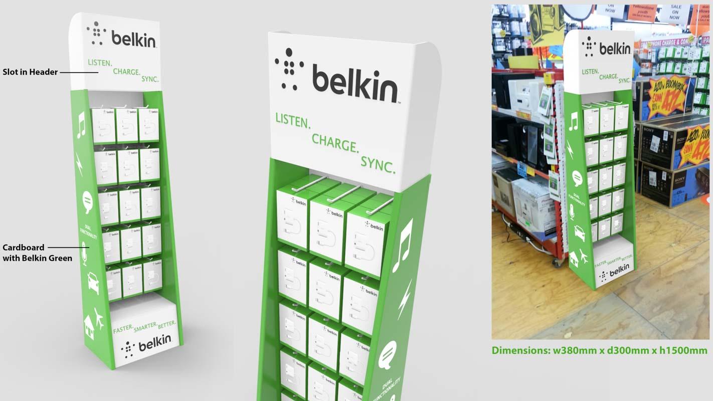 Genesis Retail Displays custom designed free staning cardboard shipper for JB Hi Fi to display Belkin mobile phone accessories