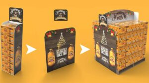 Genesis-Retail-Displays-custom-point-of-sale-design-for-Bundaberg-Rum-to-display-alcohol-with-a-cardboard-display-stand-that-is-modular-in-different-sizes
