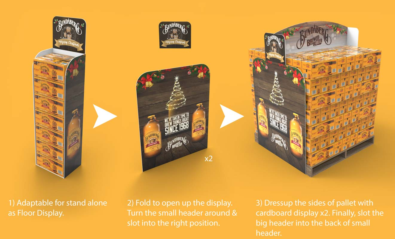 Genesis Retail Displays custom point of sale design for Bundaberg Rum to display alcohol with a cardboard display stand that is modular in different sizes for small or large shops 2