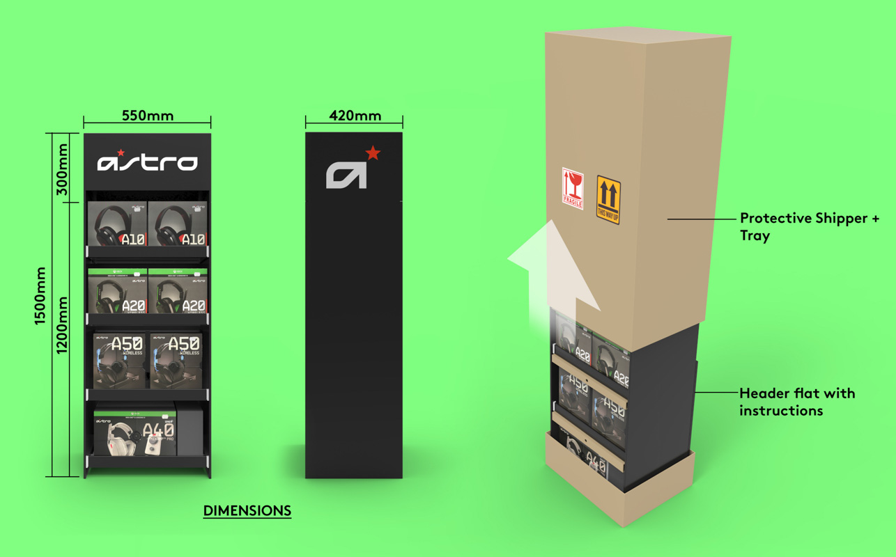 Genesis Retail Displays example of a cardboard pre packed shipper point of sale display stand for consumer electronics products for Astro headphones 1