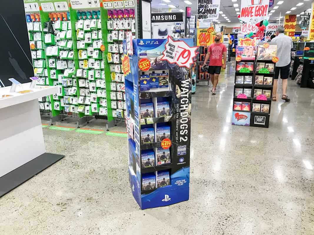 Pre packed cardboard retail display stands for blu ray movies or video games designed by Genesis Retail Displays pop manufacturer in Sydney 3
