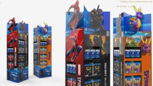 Pre packed cardboard retail display stands for blu ray movies or video games designed by Genesis Retail Displays pop manufacturer in Sydney 6