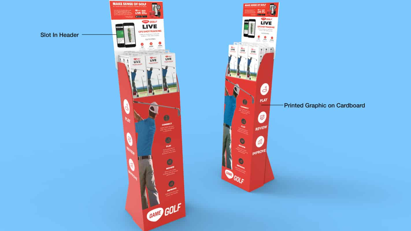 Genesis Retail Displays pos display manufacturer in Australia for custom designs for a cardboard free standing unit to show golf or sports products