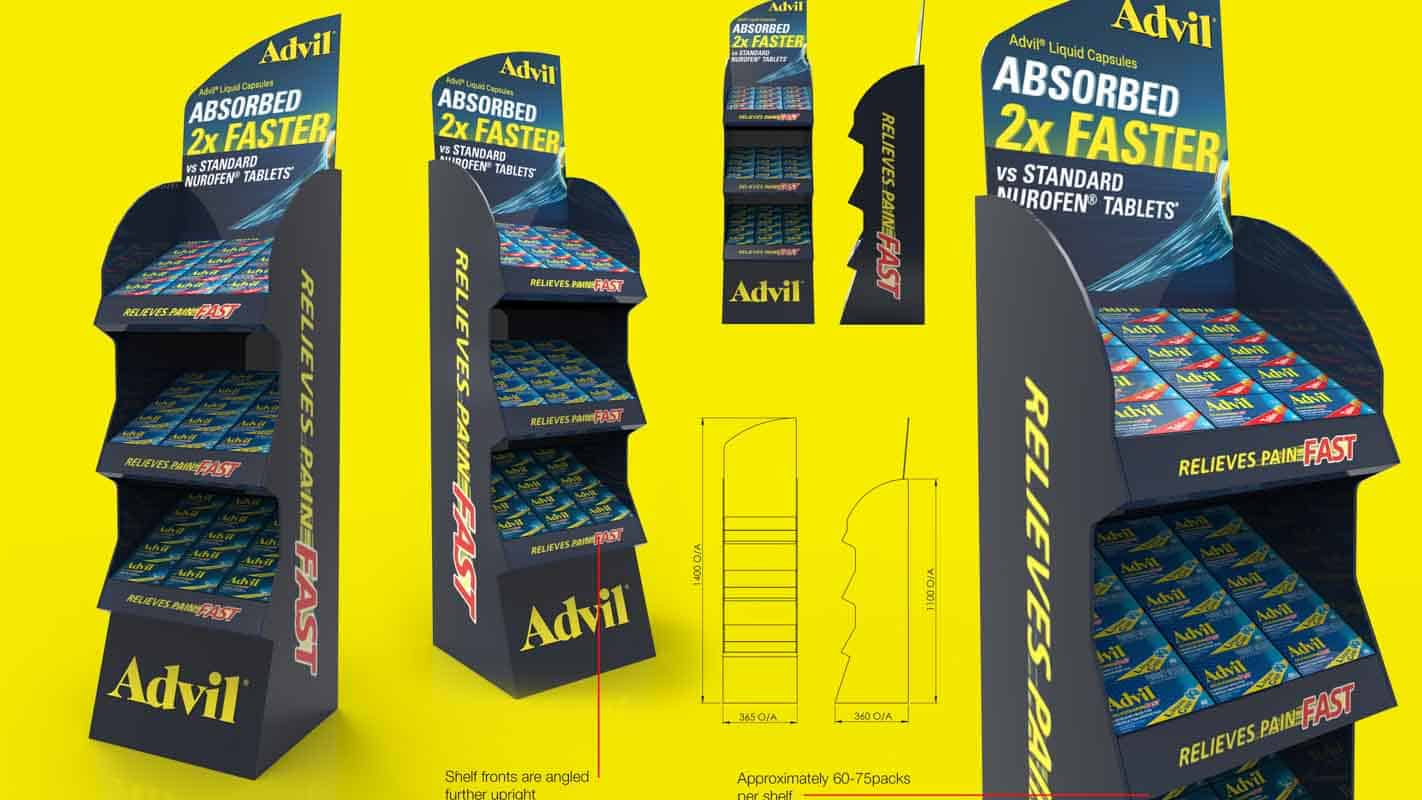 Genesis Retail Displays pos display manufacturer in Australia for custom designs for a cardboard stand to hold small products in pharmacy store