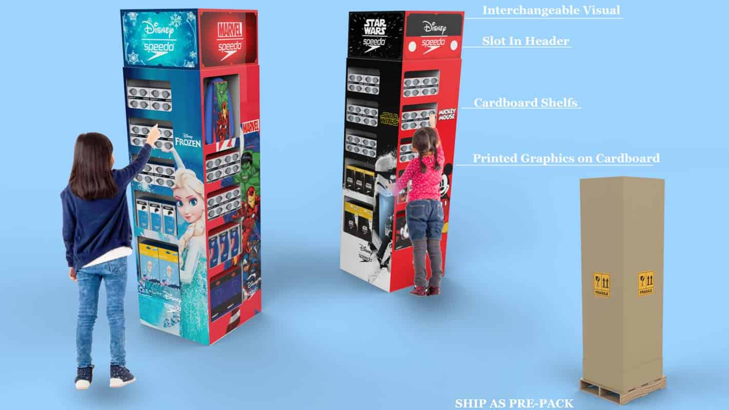 Genesis Retail Displays pos display manufacturer in Australia for custom designs for a pre packed cardboard stand that can hold dvd or blu ray movies