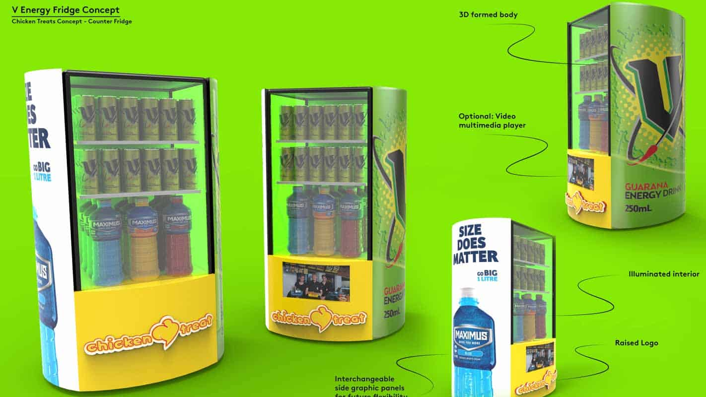 Genesis Retail Displays pos display manufacturer in Australia for custom designs for a refridgerator display for a cafe pizza shop or food court