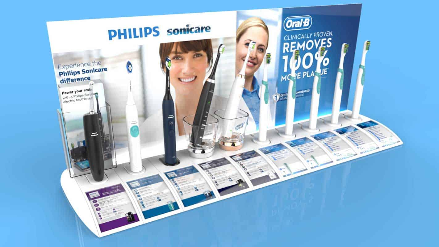Genesis Retail Displays pos display manufacturer in Australia for custom designs for an interactive display shelf for toothbrush products in grocery or pharmacy stores