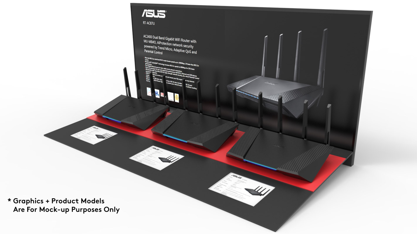 A custom designed interactive product display for consumer electronics products for ASUS for Harvey Norman and JB Hi Fi by Genesis Retail Display manufacturer in Sydney 3