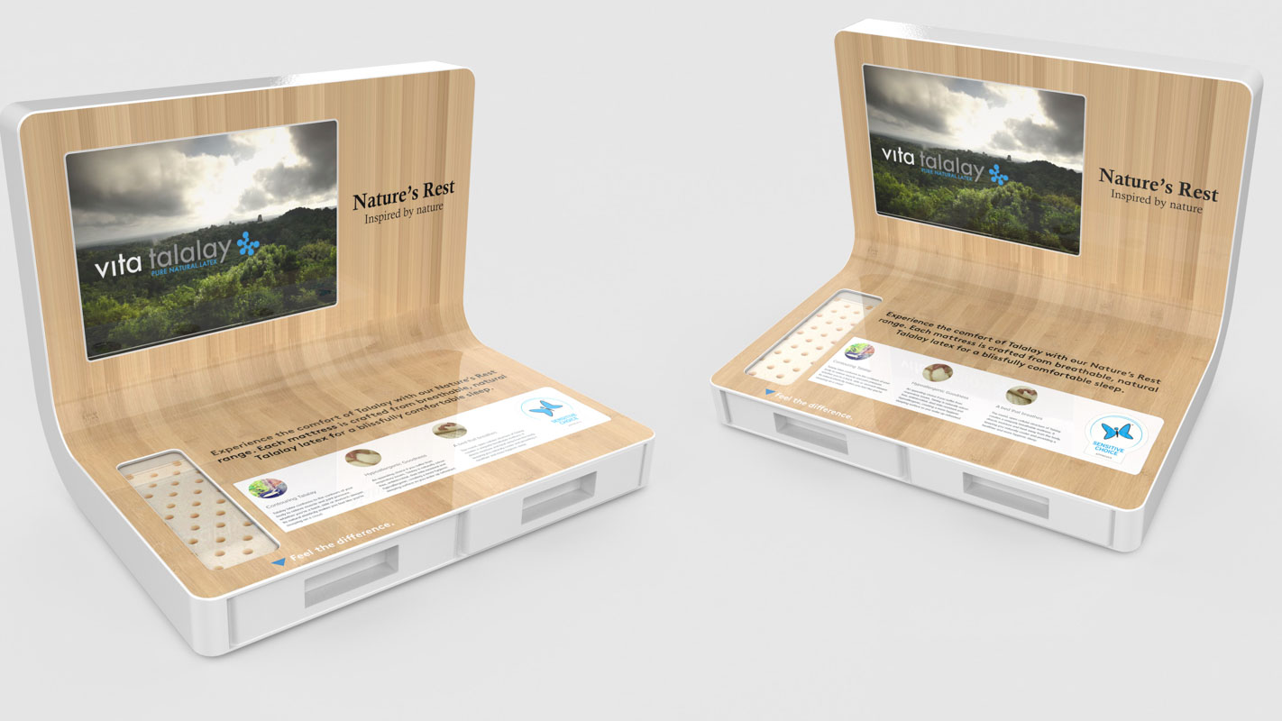 A custom designed interactive shelf display with video and lighting by Genesis Retail Displays for electrical retail stores for AH Beard products 3