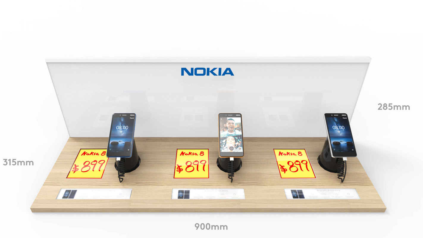 A mobile phone Interactive shelf display for consumer electronics products sold in retail custom designed by Genesis Retail Displays in Australia 1