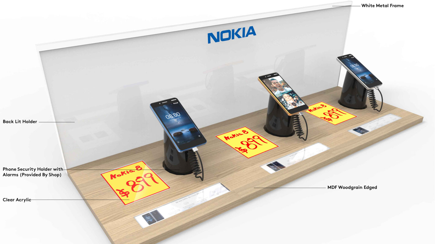 A mobile phone Interactive shelf display for consumer electronics products sold in retail custom designed by Genesis Retail Displays in Australia 2