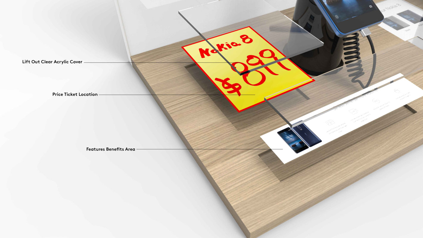 A mobile phone Interactive shelf display for consumer electronics products sold in retail custom designed by Genesis Retail Displays in Australia 3