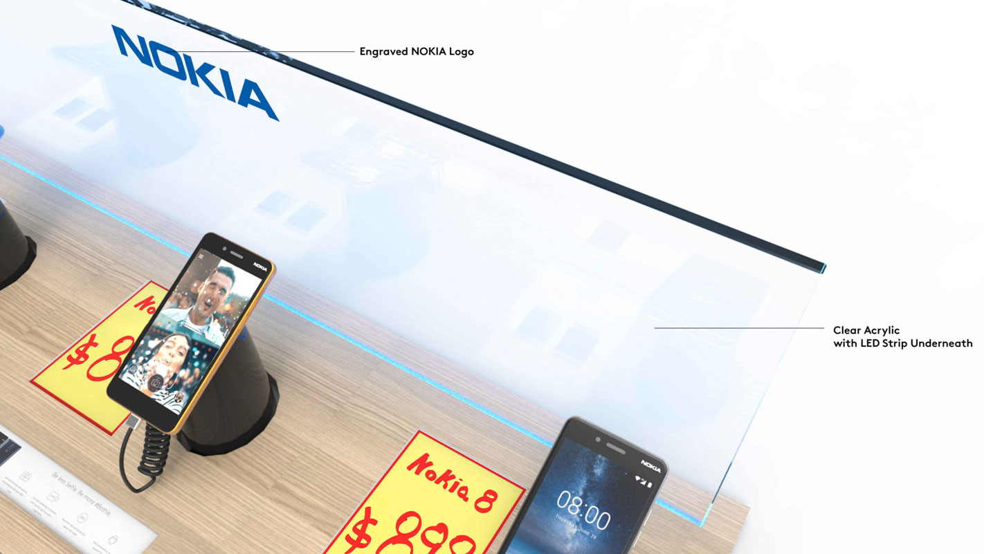 A mobile phone Interactive shelf display for consumer electronics products sold in retail custom designed by Genesis Retail Displays in Australia 5