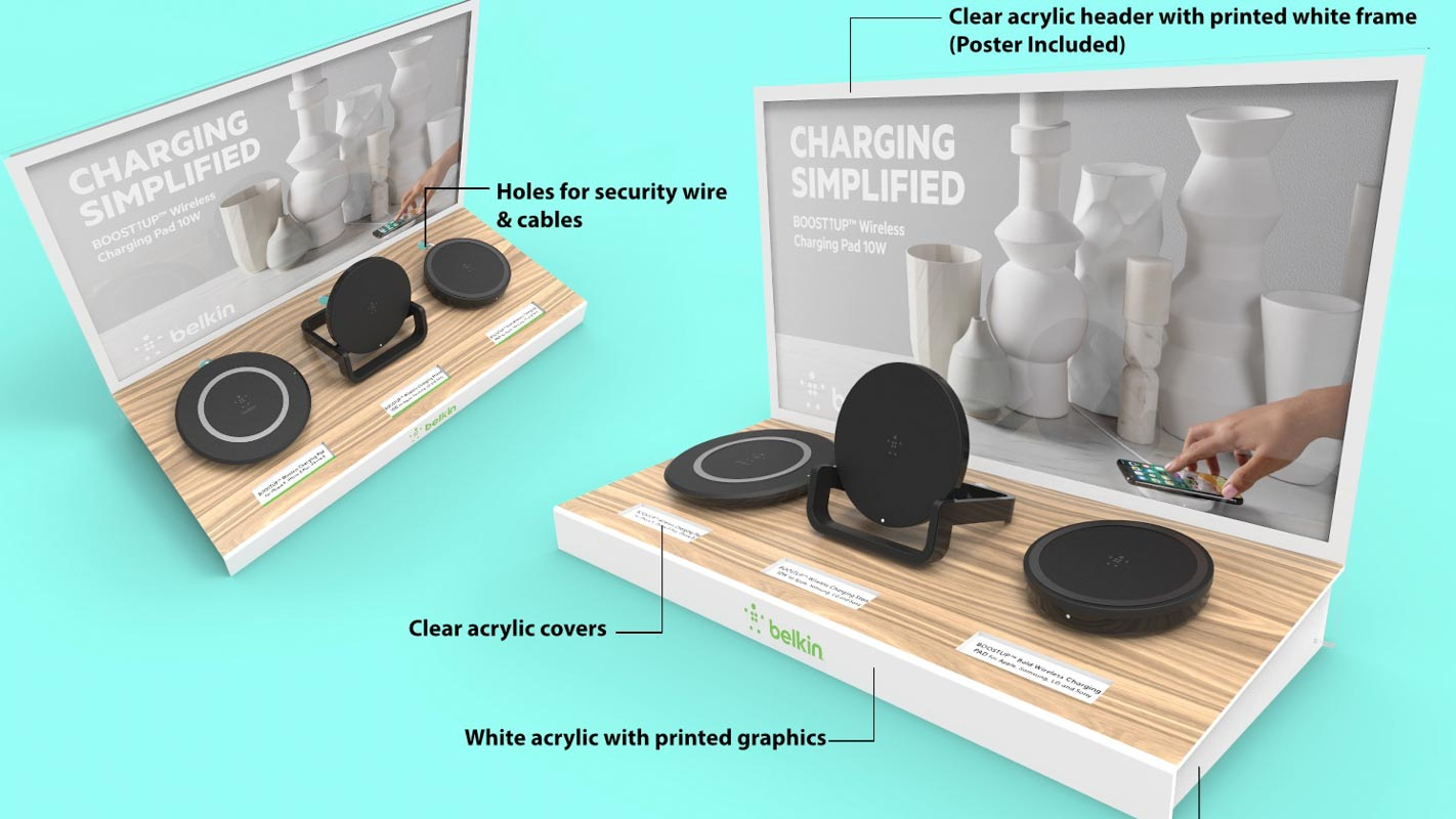 Custom design shelf display that is interactive with lighting and security designed by Genesis Retail Displays for Belkin mobile phone charging stations