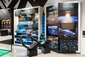 Retail POS Display Manufacturer for Harvey Norman Custom designed interactive display for a retail wall space for consumer electronics designed by Genesis Retail Displays in Australia 1
