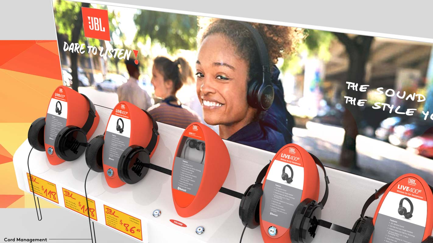Custom designed interactive headphone display for retail stores that can play music and demonstrate products designed by Genesis Retail Displays 3