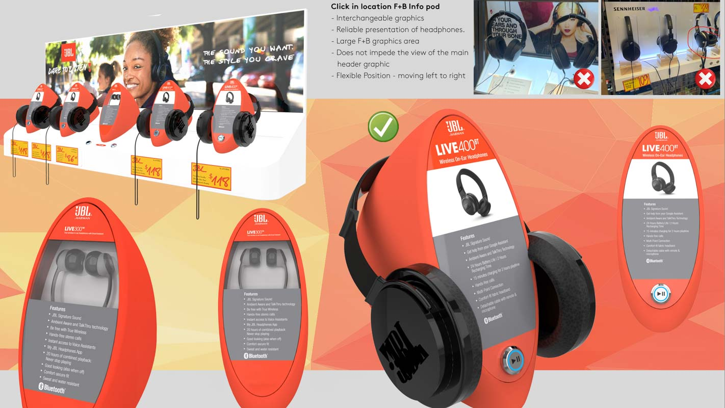 Custom designed interactive headphone display for retail stores that can play music and demonstrate products designed by Genesis Retail Displays 4