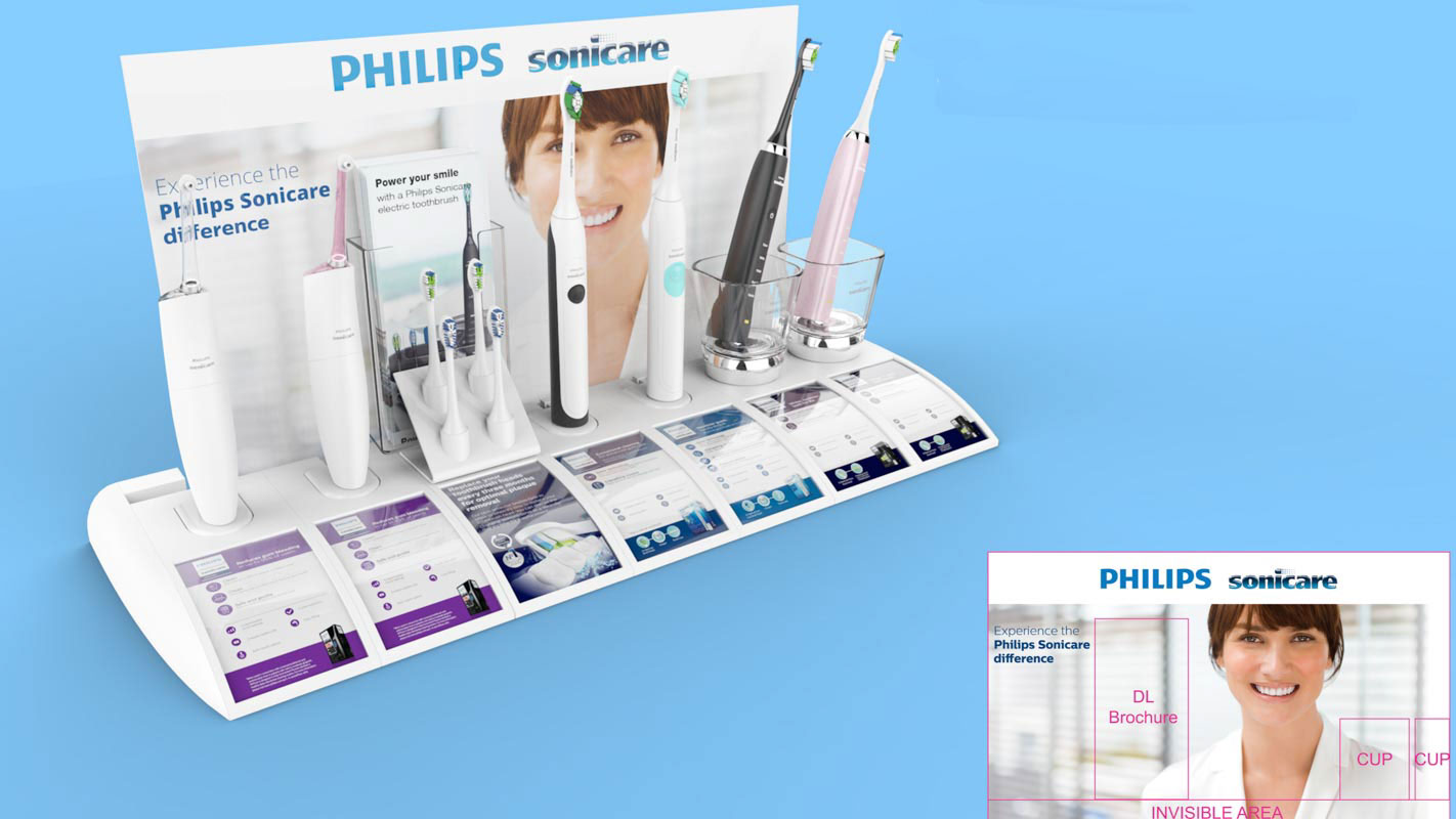 Genesis Retail Displays custom designed interactive shelf display for healthcare products Philips Sonicare range in modular format for many products