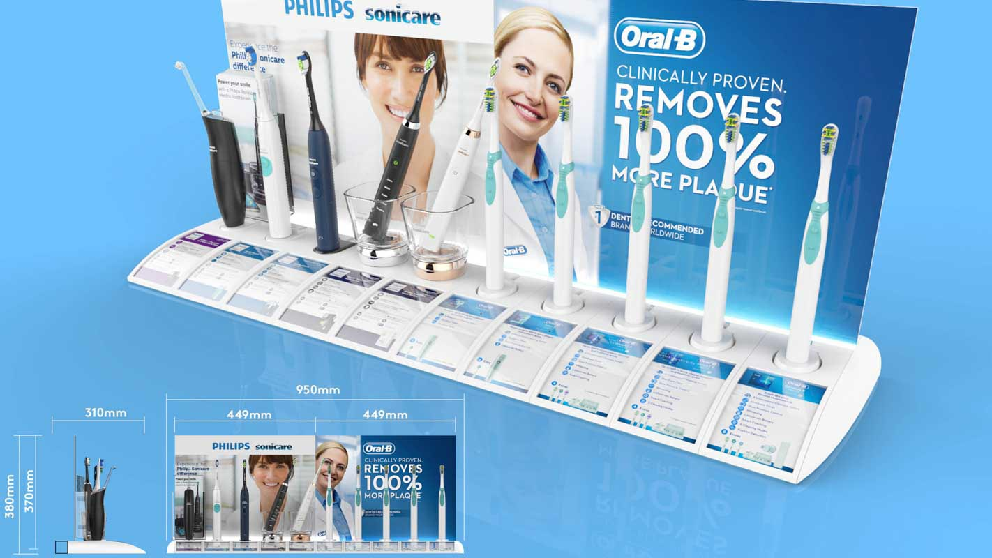 Genesis Retail Displays custom designed interactive shelf display for healthcare products Philips Sonicare range in modular format for multiple products measurements for stores