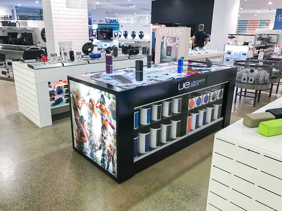 Genesis Retail Displays interactive pos display manufacturer in Australia creating a play table for Ultimate Ears UE BOOM range of bluetooth speakers without a head board 5