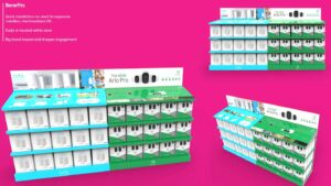 Interactive aisle displays for consumer electronics products sold in retail custom designed by Genesis Retail Displays in Australia 1