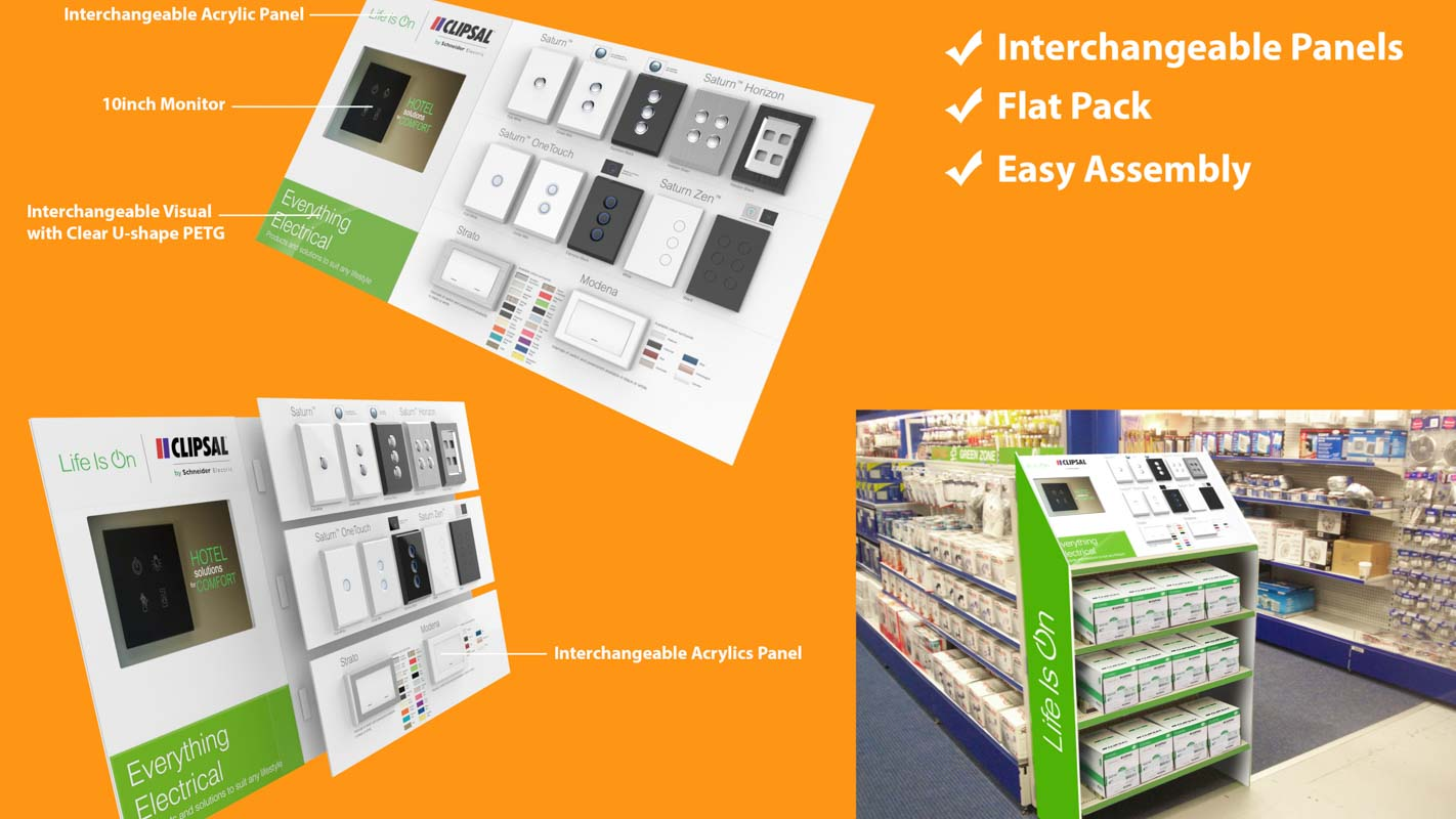 Interactive display stand for electrical products from Schneider for retail stores designed by ResMed by Genesis Retail Displays 1