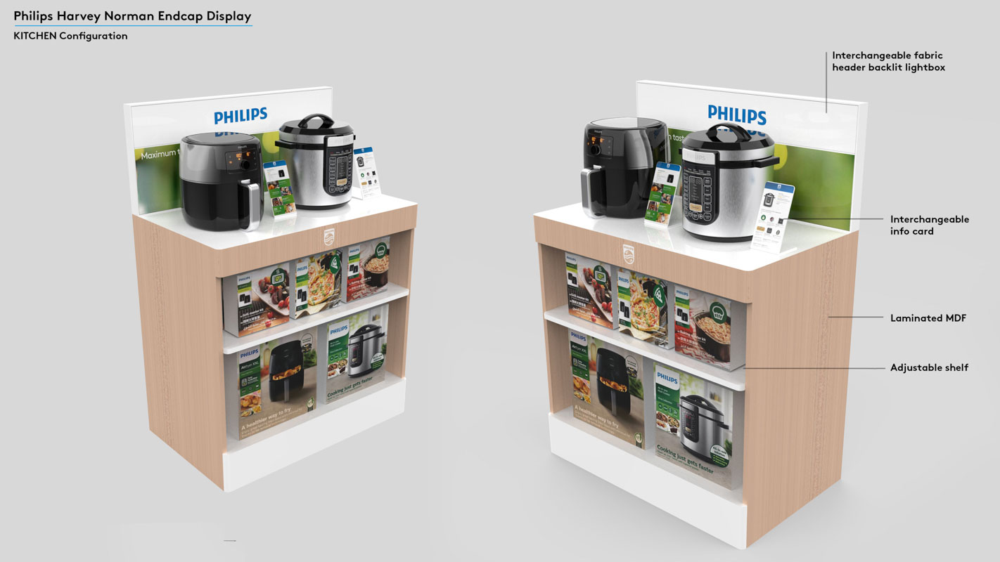 Permanent end cap displays that are interactive to demonstrate products in retail stores designed by Genesis Retail Displays 10
