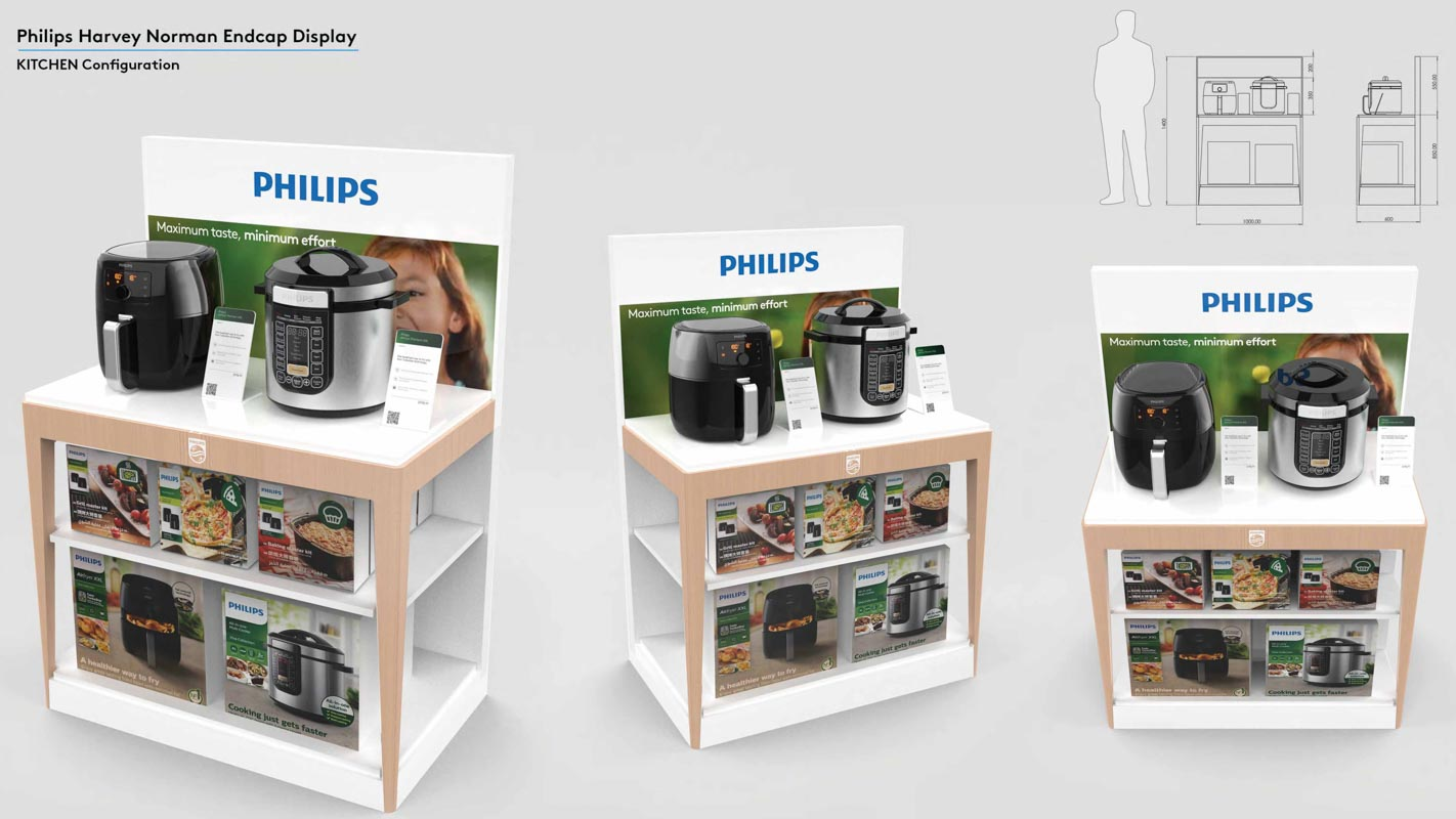 Permanent end cap displays that are interactive to demonstrate products in retail stores designed by Genesis Retail Displays 13