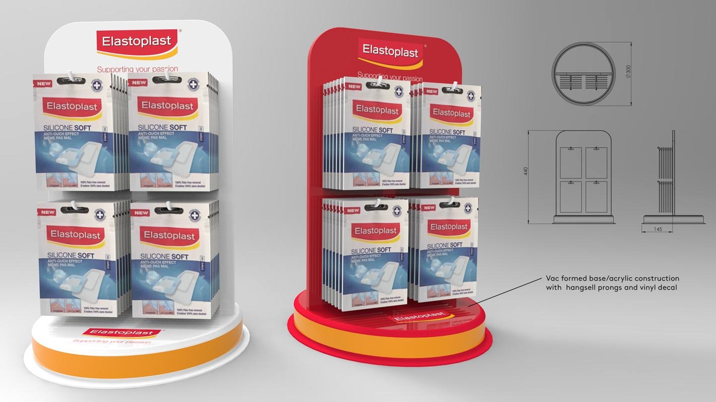Custom designed pdq retail point of sale displays for products by Genesis Retail Displays pop manufacturer in Sydney Elastoplast pharmacy shop