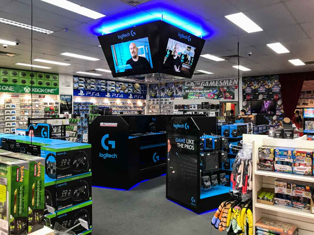 Custom-design-ceiling-screens-for-a-permanent-display-POS-for-video-game-retailer-in-Australia-for-Logitech-by-Genesis-Retail-Display-POP-Agency