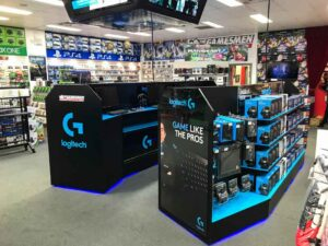 Custom-design-permanent-display-POS-for-video-game-retailer-in-Australia-for-Logitech-by-Genesis-Retail-Display-POP-Agency