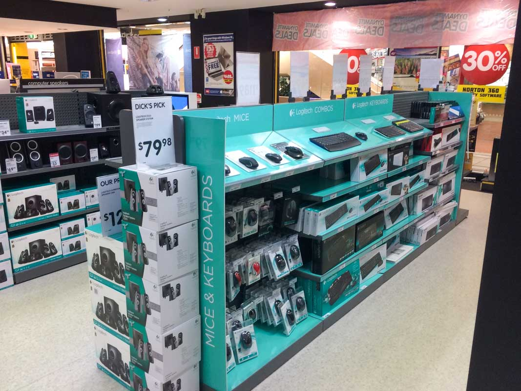 Custom designed permanent retail point of sale displays for products in retail by Genesis Retail Displays pop manufacturer in Sydney Logitech consumer electronics products on a shelf