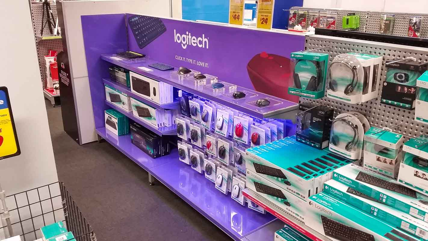 Custom designed permanent retail point of sale displays for products in retail by Genesis Retail Displays pop manufacturer in Sydney POS display for keyboards and mouse88