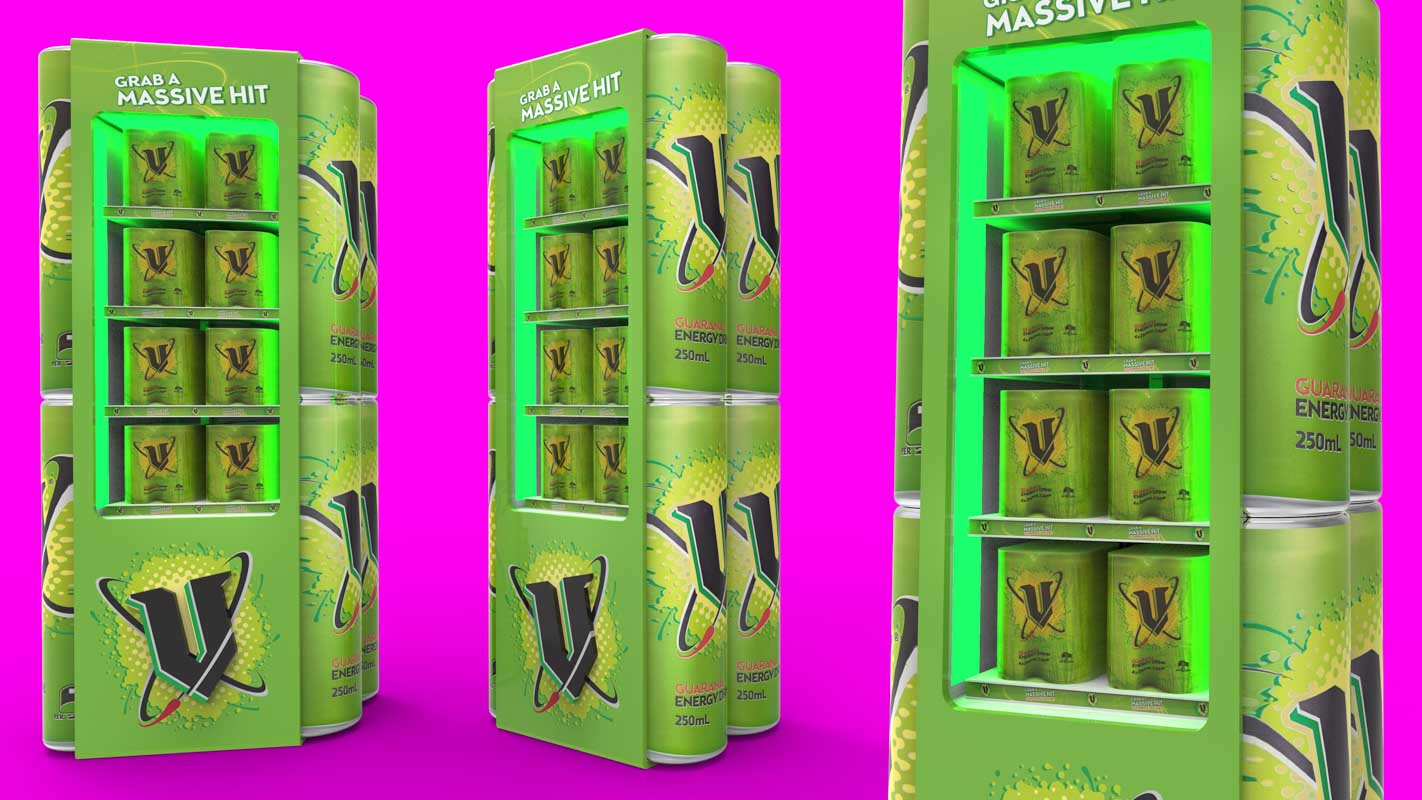 Custom designed permanent retail point of sale displays for products in retail by Genesis Retail Displays pop manufacturer in Sydney drinks fridge idea for promotion