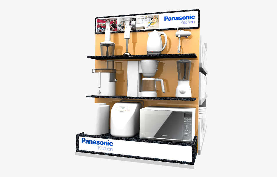 Custom designed permanent retail point of sale displays for products in retail by Genesis Retail Displays pop manufacturer in Sydney for Panasonic Household Appliances