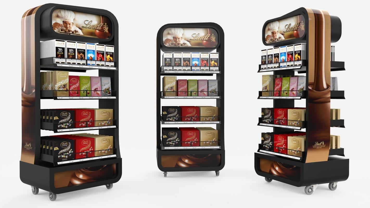 Genesis Retail Displays custom design for a metal free standing display unit for Lindt confectionary for supermarket placement concept idea rounded edges moveable on wheels