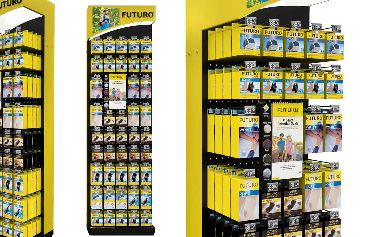 How-POS-Displays-Can-Convert-More-Shoppers-to-Buy-with-a-product-upsell-guide-designed-by-Genesis-Retail-Displays with an integrated flip chart