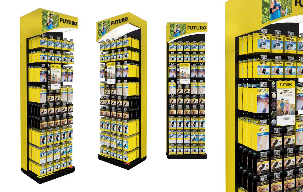 How-POS-Displays-Can-Convert-More-Shoppers-to-Buy-with-a-product-upsell-guide-designed-by-Genesis-Retail-Displays with a permanent stand