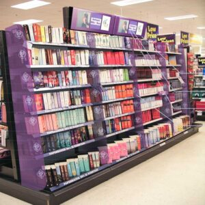 Gondola Aisle Brand Blocking for Mills & Boon Sydney-Point-of-Sale-Design-Agency-for-mass-merchant-retail-stores-shelf-display-area