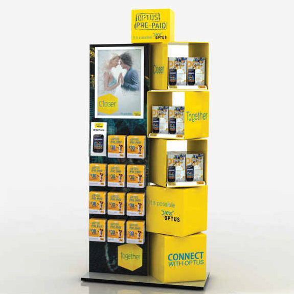 Custom designed semi permanent retail point of sale displays for products in retail by Genesis Retail Displays posm manufacturer in Sydney Optus stand
