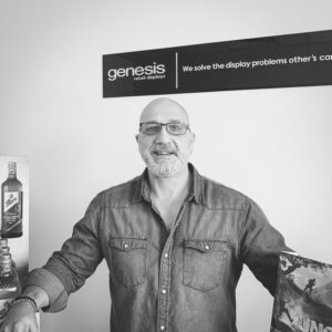 Genesis Retail Displays Staff Photo of Director Tony Hrvatin with custom made point of sale display stands